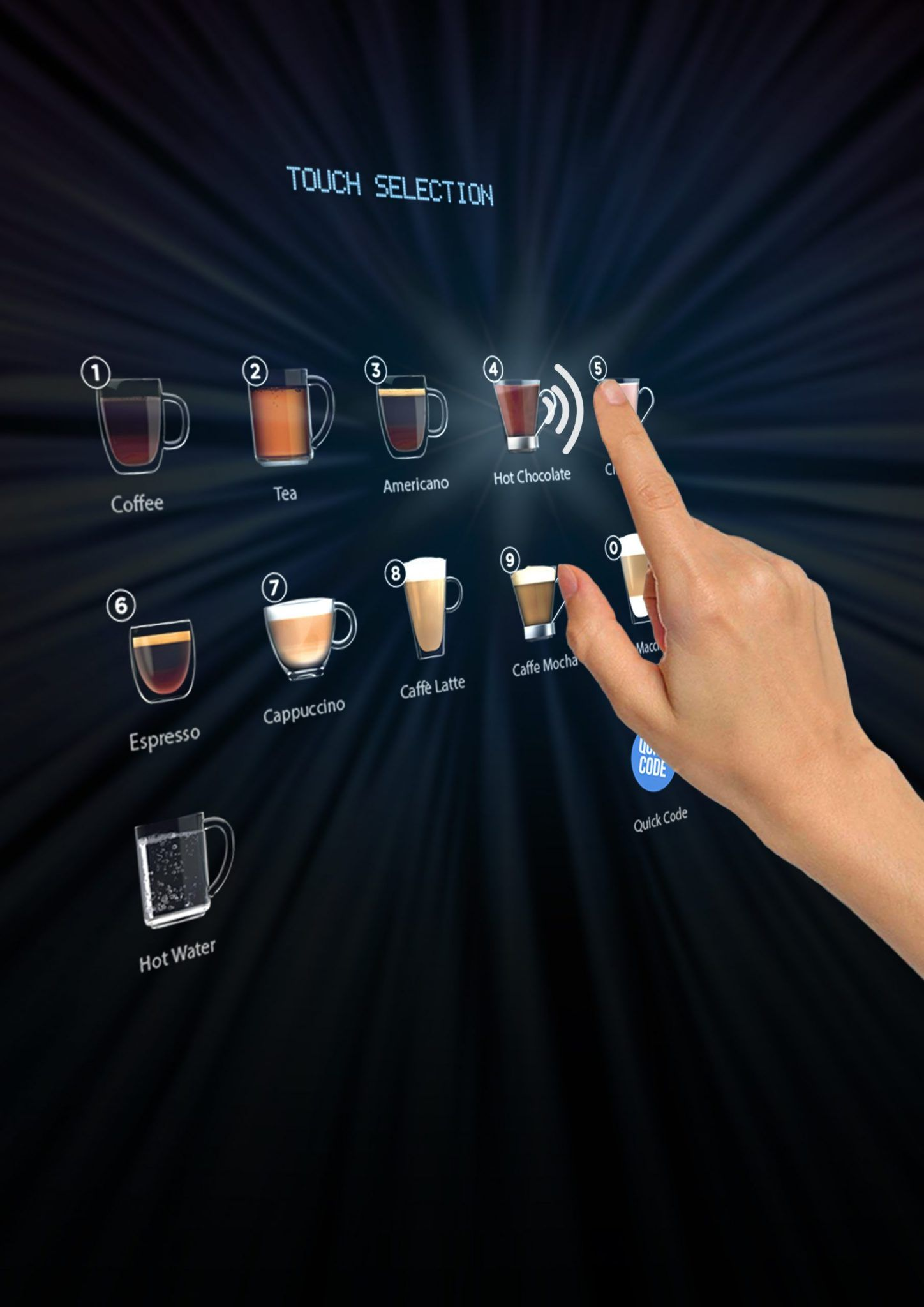 Contactless coffee vending machine
